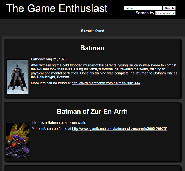 The Game Enthusiast Search of Batman Characters