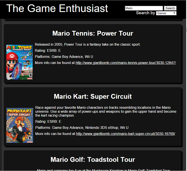 The Game Enthusiast Search of Mario Games
