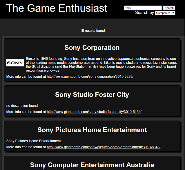 The Game Enthusiast Search of Sony Companies